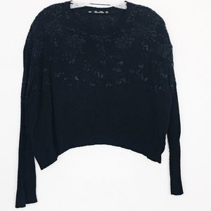 Zara Knit Beaded Cropped Oversized Black Sweater S